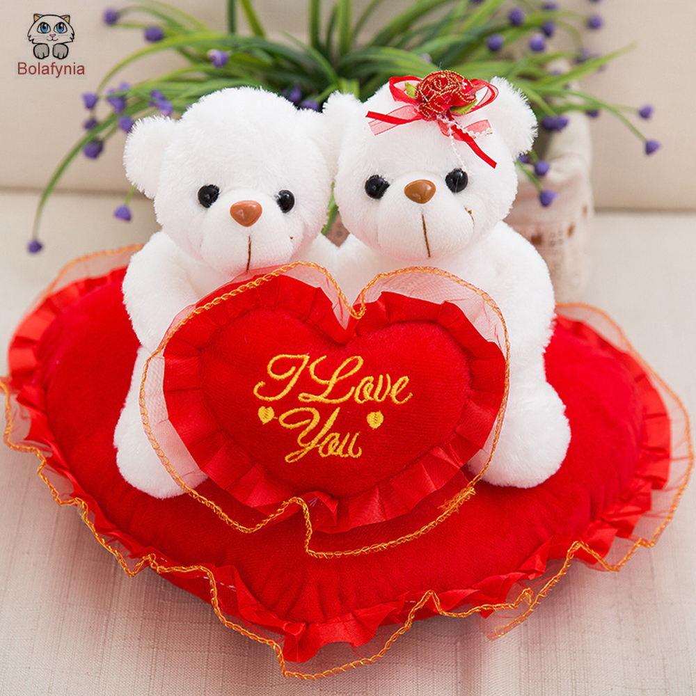 BOLAFYNIA Wedding couple teddy bear doll wedding gift baby plush toy children birthday Christmas gift stuffed baby toys the lovely bow bear doll teddy bear hug bear plush toy doll birthday gift blue bear about 120cm