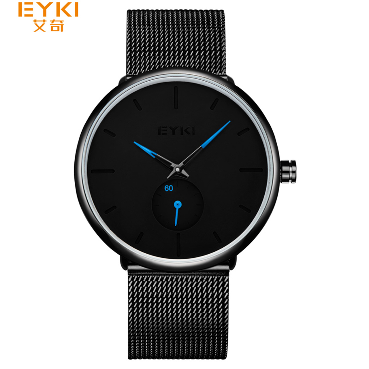 EYKI Brand Simple Stainless Steel Mesh Women Watches Men Black Independent Seconds Waterproof Sports Lovers Clock With Gift Box