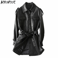 AYUNSUE Fashion Real Leather Female Jacket 2019 Spring Autumn Korean Vintage Streetwear Genuine Leather Trench Coat Women 29108