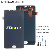 Amoled For ZTE Nubia M2 NX551J LCD Display Touch Screen Digitizer For ZTE Nubia M2 Display Assembly Phone Parts Screen LCD 100% warranty black lcd screen display touch digitizer for zte nubia z5 nx501 assembly by free shipping