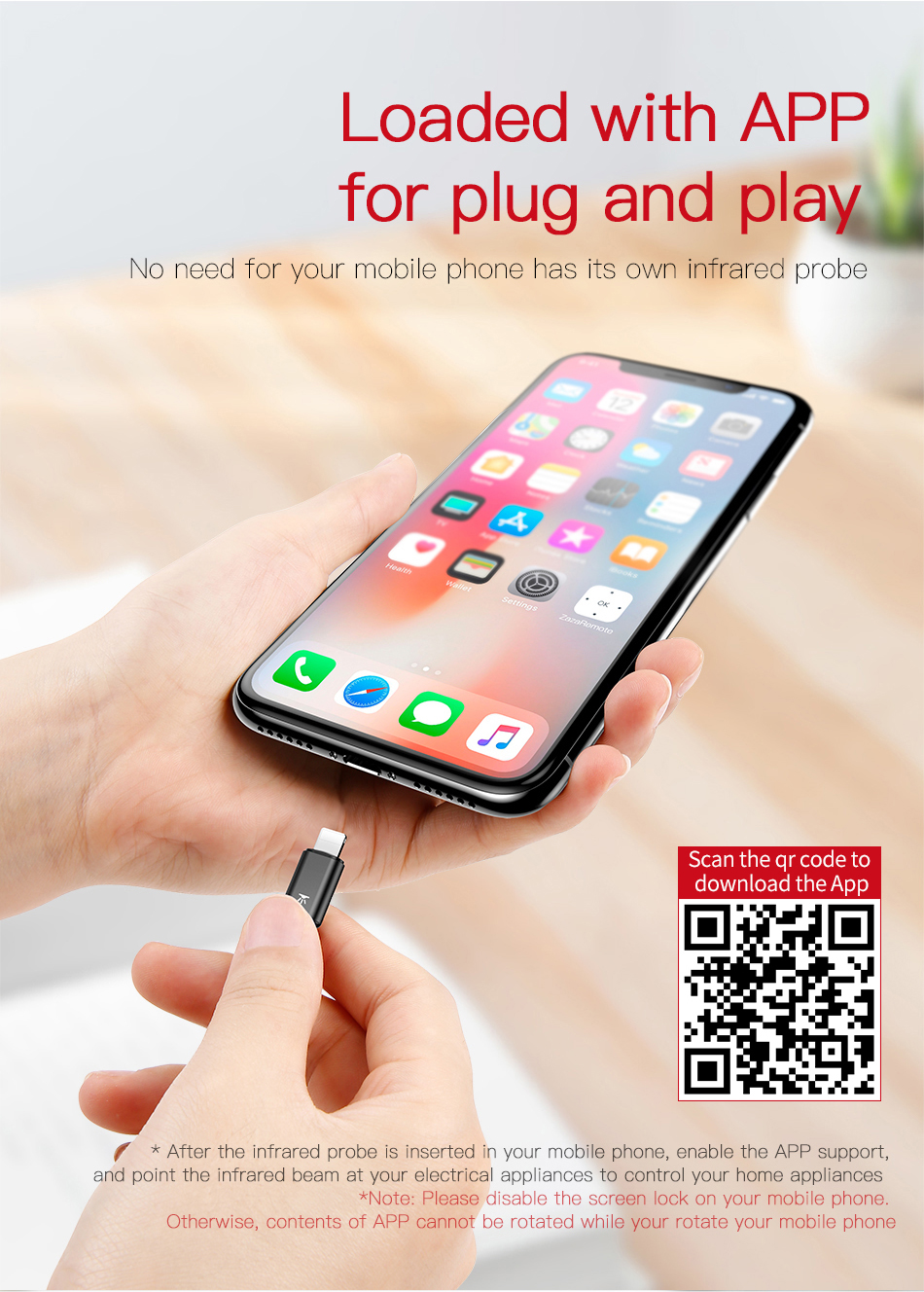 Baseus Universal IR Remote Control for iPhone Xs Max XR Xs X 8 7 Samsung S9  S8 Plus Type C Jack Smart Controller for TV Fans