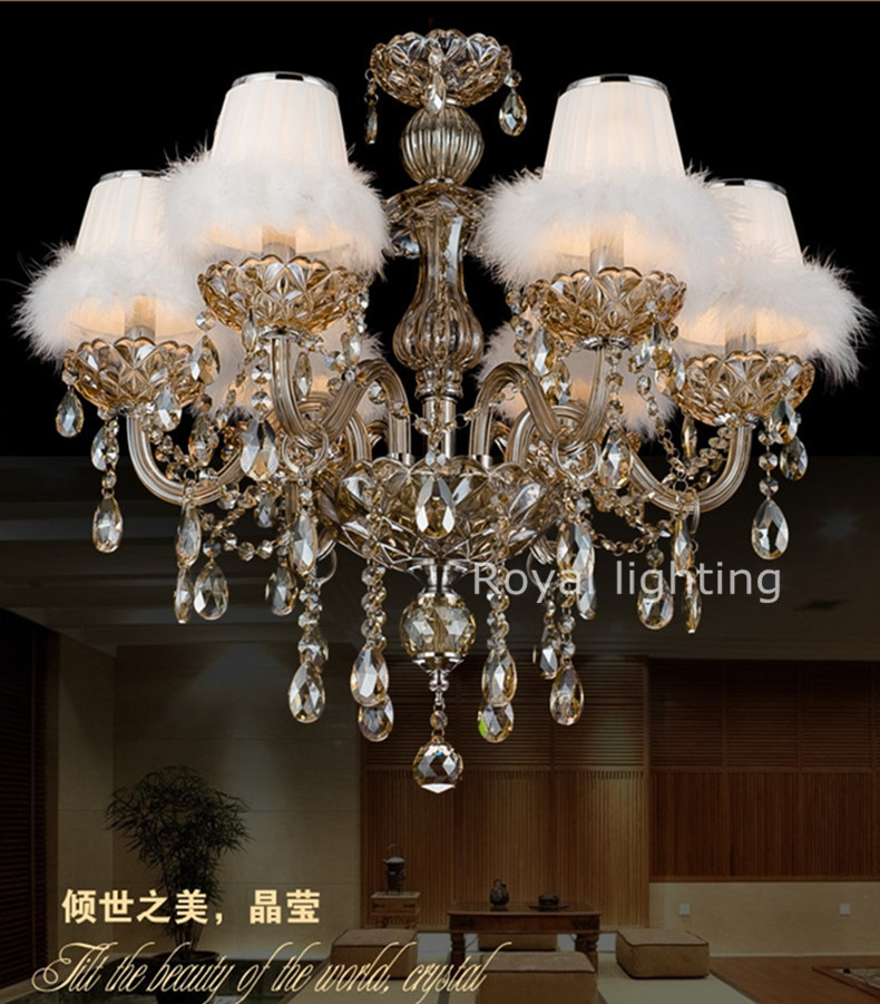 france led amber crystal chandelier lamps with fabric swan shades candle chandeliers for living. Black Bedroom Furniture Sets. Home Design Ideas