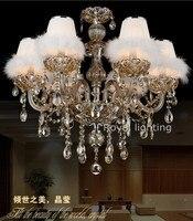 Frankreich führte bernstein kristall kronleuchter lampen mit stoff schwan shades kerze kronleuchter für wohnzimmer hängeleuchten