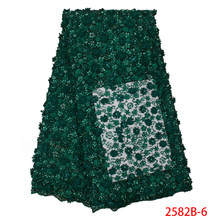 Green Lace Fabric High Quality Latest 2019 African Lace Fabric French Lace with Beads/Sequin Handmade of Lace fabric NA2582B-1(China)