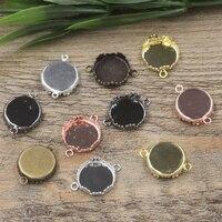 15mm 100 adet Antik Bronz/Gümüş/Altın/Siyah Taç Boş Kolye Askı Tepsiler Üs Cameo Kabaşon ayarı için Cam/Çıkartmalar