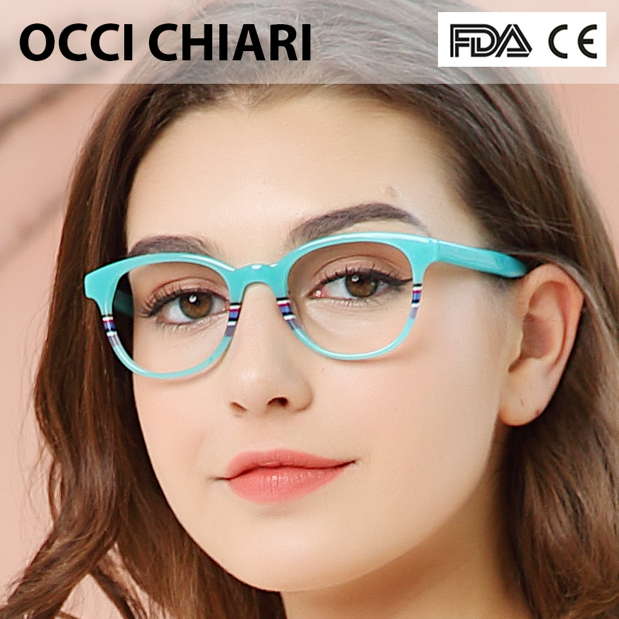 Recommend Good Quality Italy Design Acetate Navy Stripes Spring Hinge Eyeglasses Women Eyewear Clear Glasses Frame W CORRO-in Women's Eyewear Frames from Apparel Accessories