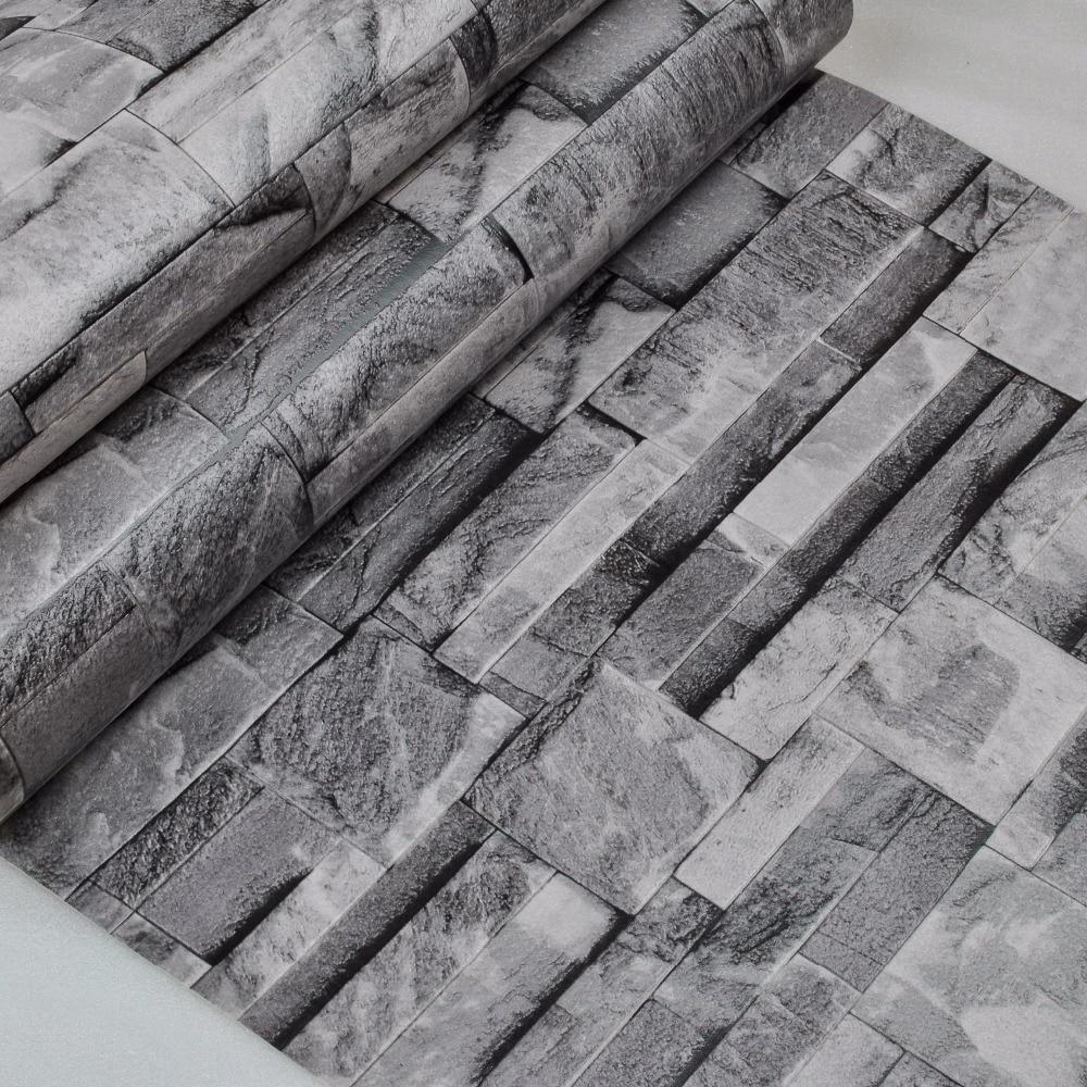 Grey Black Brick Faux Stone Effect Wallpaper