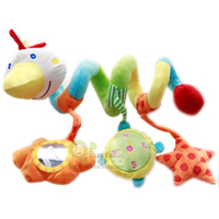 Candice Guo! Venta caliente de color Big Bird actividad espiral liebre sonajero de peluche de juguete cama de campana redonda dispositivo BB 1 unid