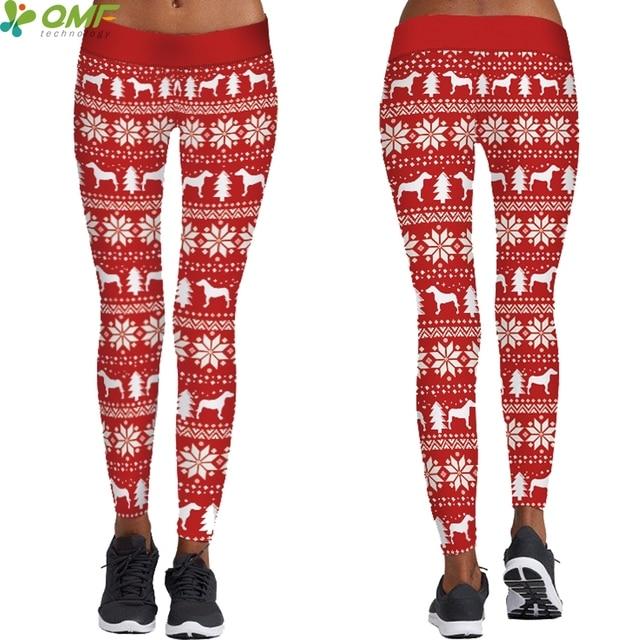 red christmas reindeers women yoga leggings autumn winter fitness trousers sports skinny tights santa claus elk