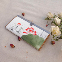 Chinese National Style Retro Women Wallet Hand Painted White Lotus Hasp Cotton Clutch