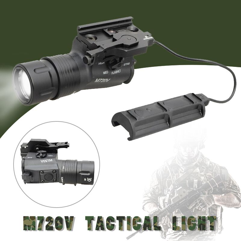 Element M720V Tactical LED Flashlight Strobe Version Airsoft Combat Hunting Rifle Gun Flashlight Light Equipment EX273 element airsoft hunting military led weapon light flashlight pocket for rifle m952v gun tactical black 180 lumens ex 192