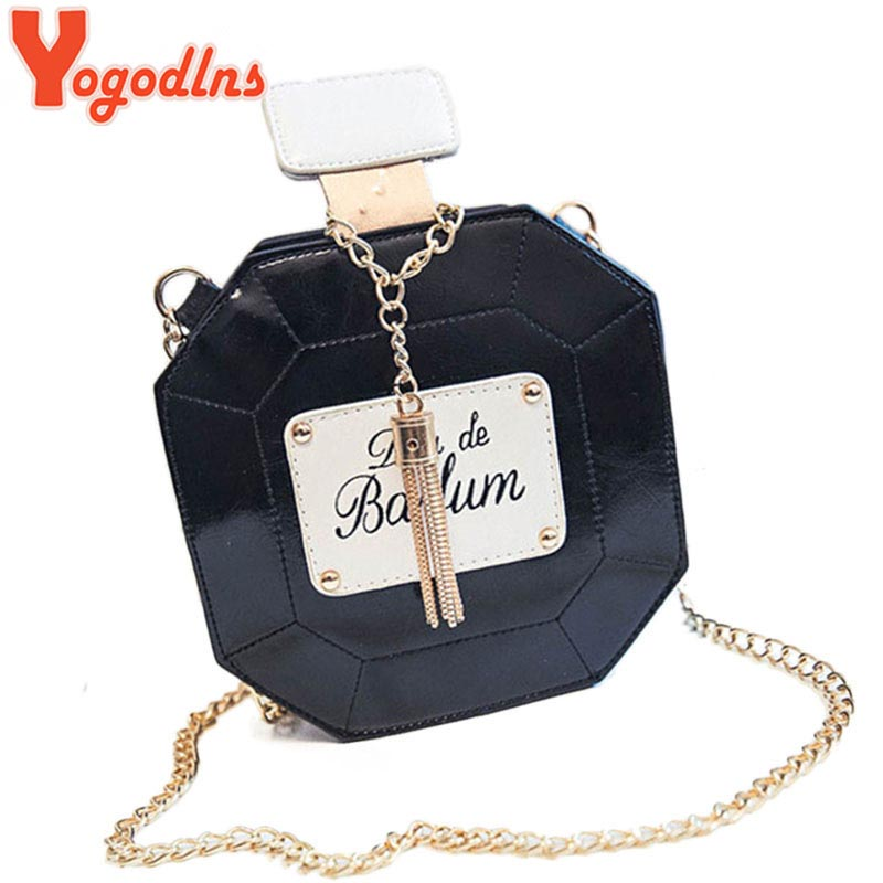 Yogodlns Leather Perfume Bottle Chain Mini Clutch Bag 2017 Women Handbag Fashion