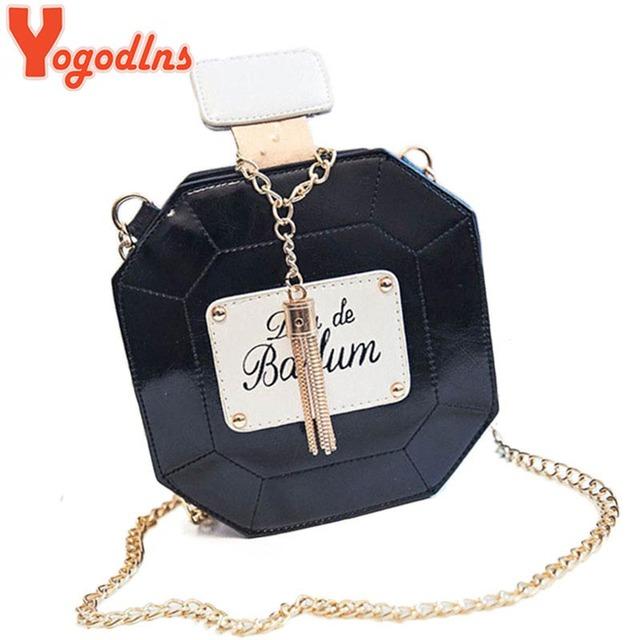 Yogodlns Leather Perfume Bottle Chain Mini Clutch Bag 2017 Women Handbag Fashion Party Women Bags Evening Bags