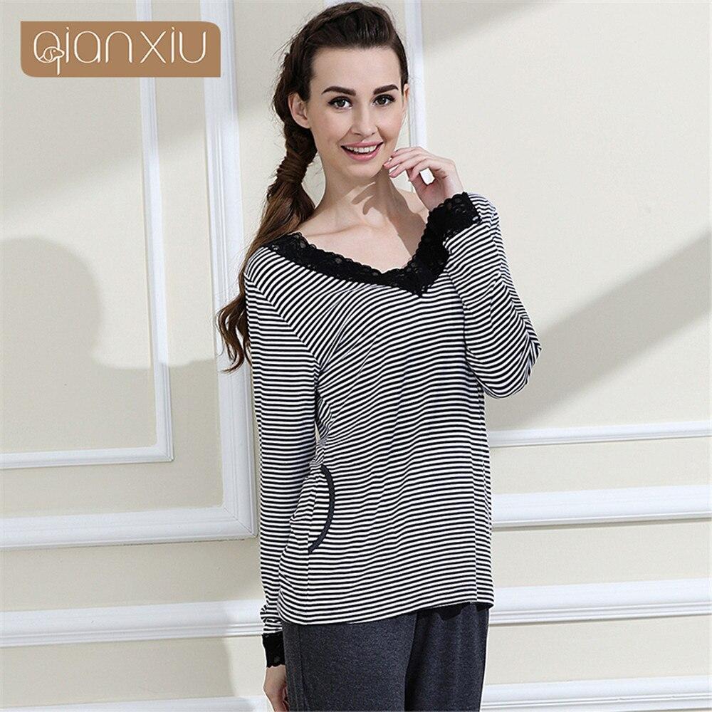 14fa902788 Detail Feedback Questions about Qianxiu Brand Pajamas women Classic Stripes  Sleepwear Knitted V neck Pajamas Set women nightwear casual suit nightdress  ...