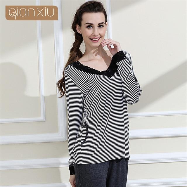Qianxiu Brand Pajamas women Classic Stripes Sleepwear Knitted V-neck  Pajamas Set women nightwear casual suit nightdress onsie 1f9bcf5e9