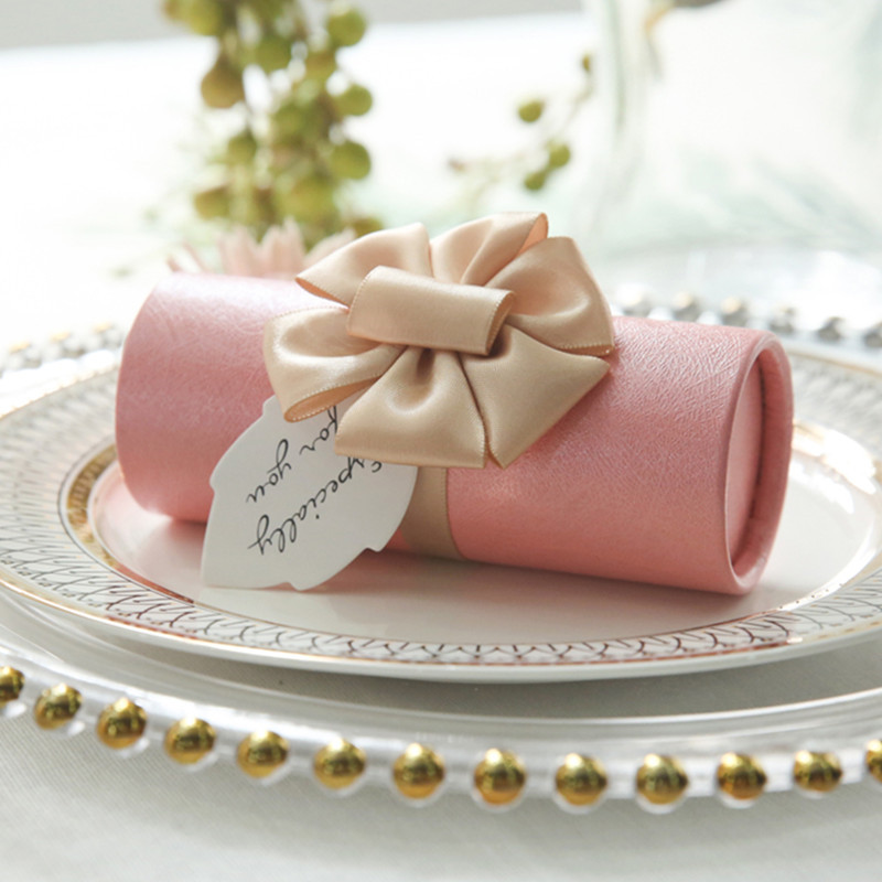 Gift-Box Cylinder Candy-Box Wedding-Decoration Birthday-Party 12pcs Bow High-Grade title=