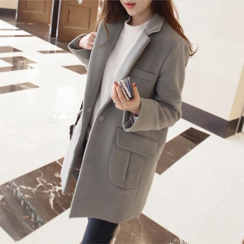 New Women's Wool Blends Coat Winter 2018 Autumn Fashion Elegant Loose Long Tweed Woolen Outerwear Female High Quality Grey Coats