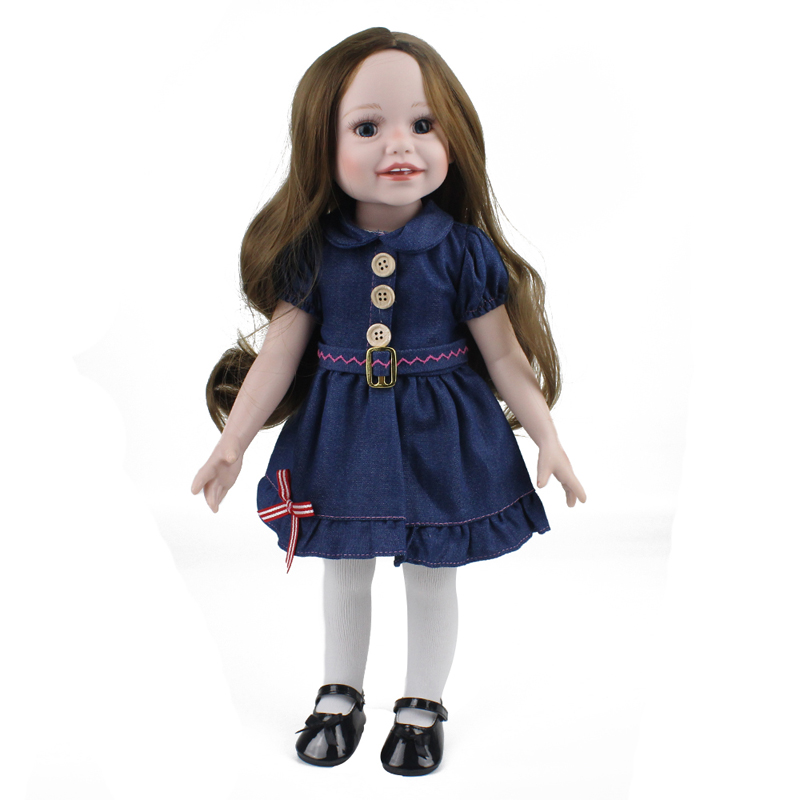 American Girl Doll Princess Doll Reborn 18 Inch/45 cm, Soft Plastic Baby Doll Bebe Reborn Toys for Children Free Shipping 18 inch soft american girl dolls princess doll 45 cm lovely lifelike baby toys for children present
