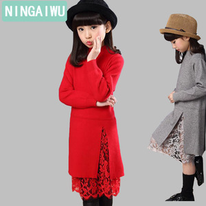 Image 4 - New girl children winter sweater dress lace stitching split long turtleneck knitted kids girls long sleeves dress party clothes
