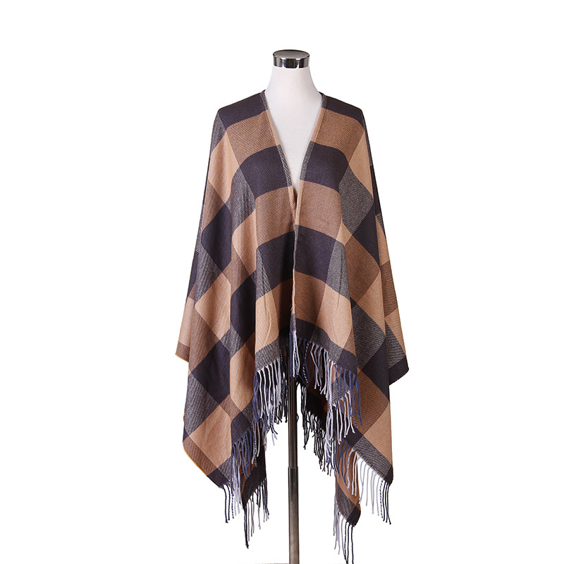 Women Autumn Winter Plaid Blanket Scarf Fall Winter Tassels Faux Cashmere Shawl Poncho Wraps Warm font