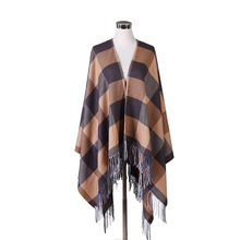 Women Autumn Winter Plaid Blanket Scarf Fall Winter Tassels Faux Cashmere Shawl Poncho Wraps Warm Tartan Pashmina 160cm*140cm