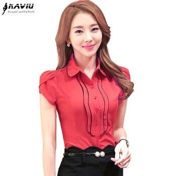 Elegant Women Ruffle Short Sleeve shirt OL Formal slim laciness chiffon blouse office ladies plus size work wear tops S-4XL
