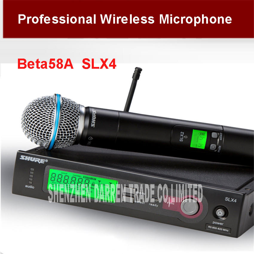 все цены на Microfono High Quality  Wireless Microphone Slx4/beta58 Professional Slx Cordless 58a Handheld Karaoke System moving coil type