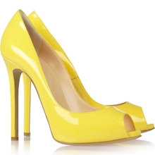 Yellow Patent Leather Women Pump Stilettos Peep Toe Bridal Pumps Cover Heel Slip-ons Made-to-order Plus Size 12 Handmade Shoe