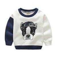 Fleece Kids T-shirt Jongen Meisjes Sweatshirt Herfst Winter Warm Sweatshirt Hond Gedrukt Dikke Katoenen Jongens Tops Tshirt Babykleertjes