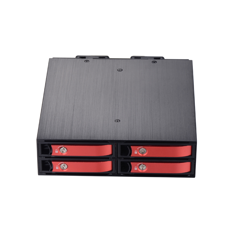 Four bay 2.5 inch to 5.25 inch HDD/SSD mobile rack with two fan with all aluminum alloy bracket backplane HDD/SSD enclosure 4 bay 2 5 inch internal sata hdd ssd aluminum mobile rack with hot swap support 7mm 9 5mm 15mm hdd ssd enclosure with lock