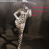 Женский сексуальный сценический комбинезон с 3D принтом зебры боди Ночной клуб для празднования вечеринок шоу костюмы танцовщицы