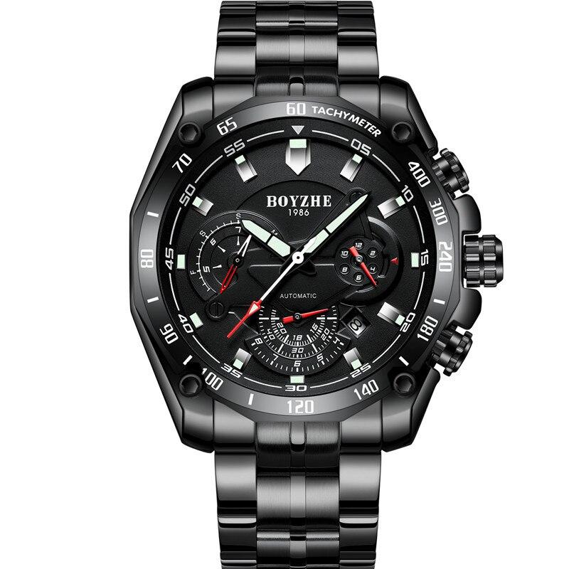 Boyzhe 남자 자동 기계식 시계 빛나는 럭셔리 브랜드 시계 남자 군사 스포츠 스테인레스 스틸 시계 relogio masculino-에서스포츠 시계부터 시계 의  그룹 2