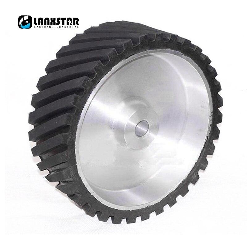 Tungfull 200*50*25mm Serrated Rubber Contact Wheel Belt Sander Polisher Wheel Sanding Belt Set High Quality