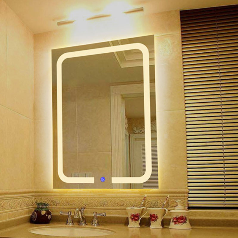 Vertical Warm Light Led Backlit Bathroom Mirror Square Wall Mount Finger Touch Bath Mirrors