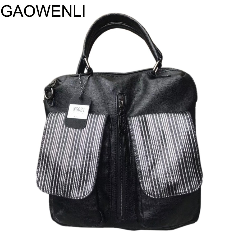 GAOWENLI Brand Women Backpack Leather School Backpacks for Teenage Girls Shoulder Bag Large Capacity Travel Bags brand women backpack pu leather school backpacks for teenage girls shoulder bag large capacity travel bags