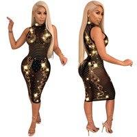 Rhinestone Sparkly Bodycon Dress Women Sexy Sheer Mesh Runway Dress Elegant See Through Knee Length Party Night Club Dress