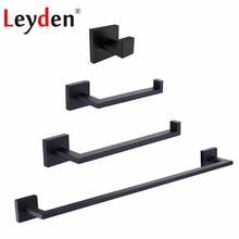 цена Leyden Blackened 304 Stainless Steel 4pcs Bathroom Accessories Set Single Towel Bar Towel Ring Robe Hook Toilet Paper Holder Set онлайн в 2017 году