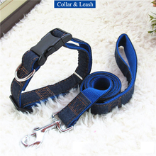 Fashion Denim Dog Collar Harness Set Pet Leash High Quality Adjustable Nylon Dog Collar Traction Rope for Small Large Dogs