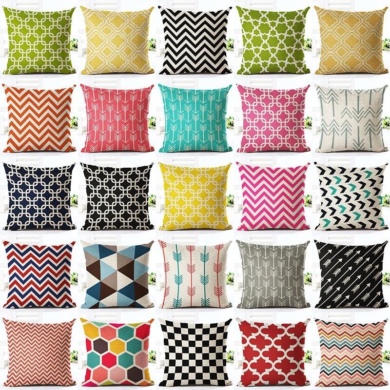 Siri Colorful Geometric Baru Bercetak Linen Kapas Cushion Cover Home Decor Rumah Tangga Membuang Bantal Kes Almofadas Cojines