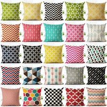 New Colorful Geometric Series Printed Linen Cotton Cushion Cover Home Decor Houseware Throw Pillow Case Almofadas Cojines