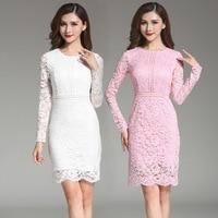 2018 Casual Long Sleeve Split Joint Lace Dress White European Long The New Skirt Self-cultivation Dress Elegant Fashion