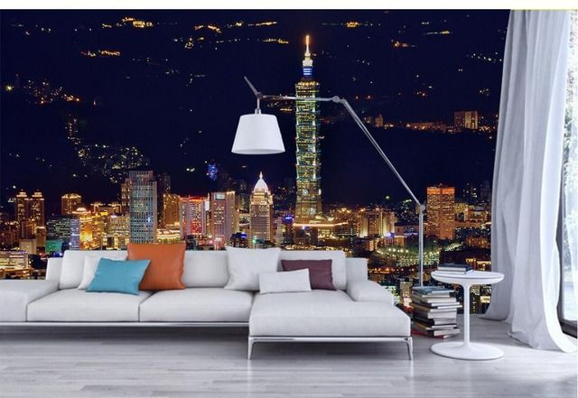 Custom D Photo Wall Paper City Lights Art Custom D Mural - City lights wallpaper for bedroom