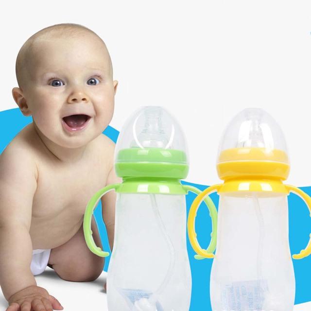 Bebê Mamadeira Com Alça Calibre Padrão Mamadeira Enfermagem Bonito Sippy Copo de Treinamento Pipeta Garrafa Infantil Recém-nascidos BB0052