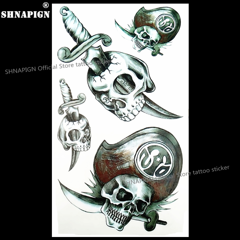 SHNAPIGN Pirate Skull Sword Temporary Tattoo Body Art Flash Tattoo Stickers 17*10cm Waterproof Fake  Car Styling Wall Sticker