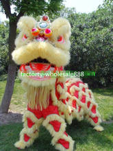 100% Wool Lion Dance Mascot Costumes Chinese Folk Art for Two Adults Performance Cosplay Party Game Advertising(China)