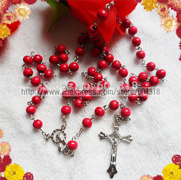 free ship 7mm pink wood bead rosary/religious rosary necklace/pink rosary (5pcs/set)