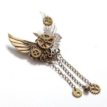 Стимпанк брошка с крыльями и шестеренками