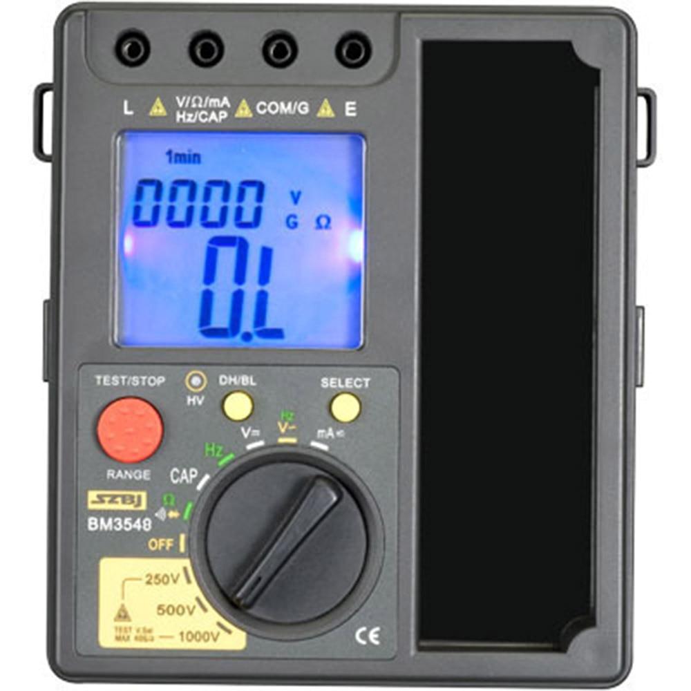 Bm500A 1000V Testeur De R/ésistance dIsolation Num/érique Compteur M/égohmm/ètre Megger Nouveau Testeur De R/ésistance dIsolation Num/érique