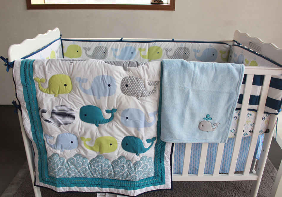 8Pieces Baby Bedding Set 3D Embroidery Dolphin Crib 100 Cotton Include Quilt Bumper Bed Skirt Boys Girls Blue In Sets From Mother