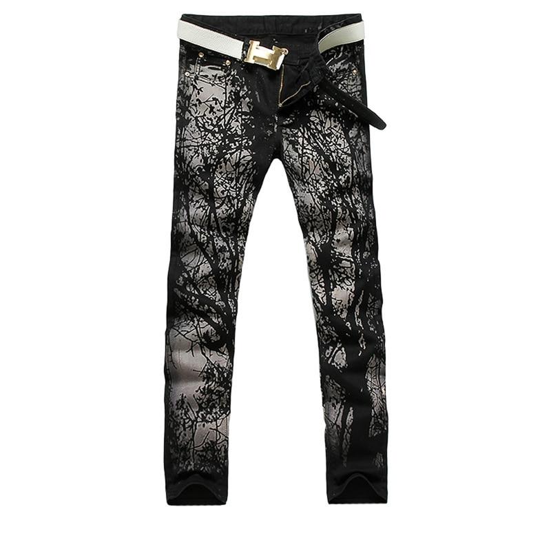 2017 new fashion straight leg jeans long men male printed denim pants cool cotton designer good quality brand trousers  MJB029